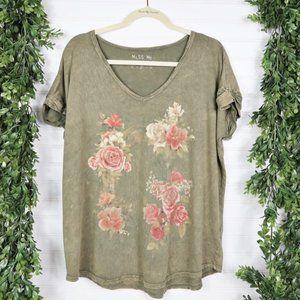 Miss Me Burnout V-Neck Acid Wash Floral Tee Size M